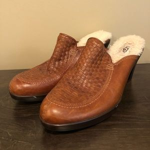 Ugg Brown Gabriella Lined Leather Woven Clogs